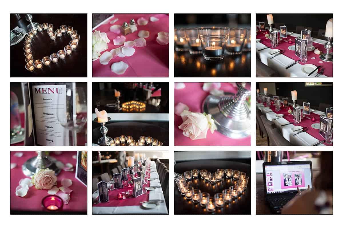 Bruiloft kleur thema: wit-roze-paars