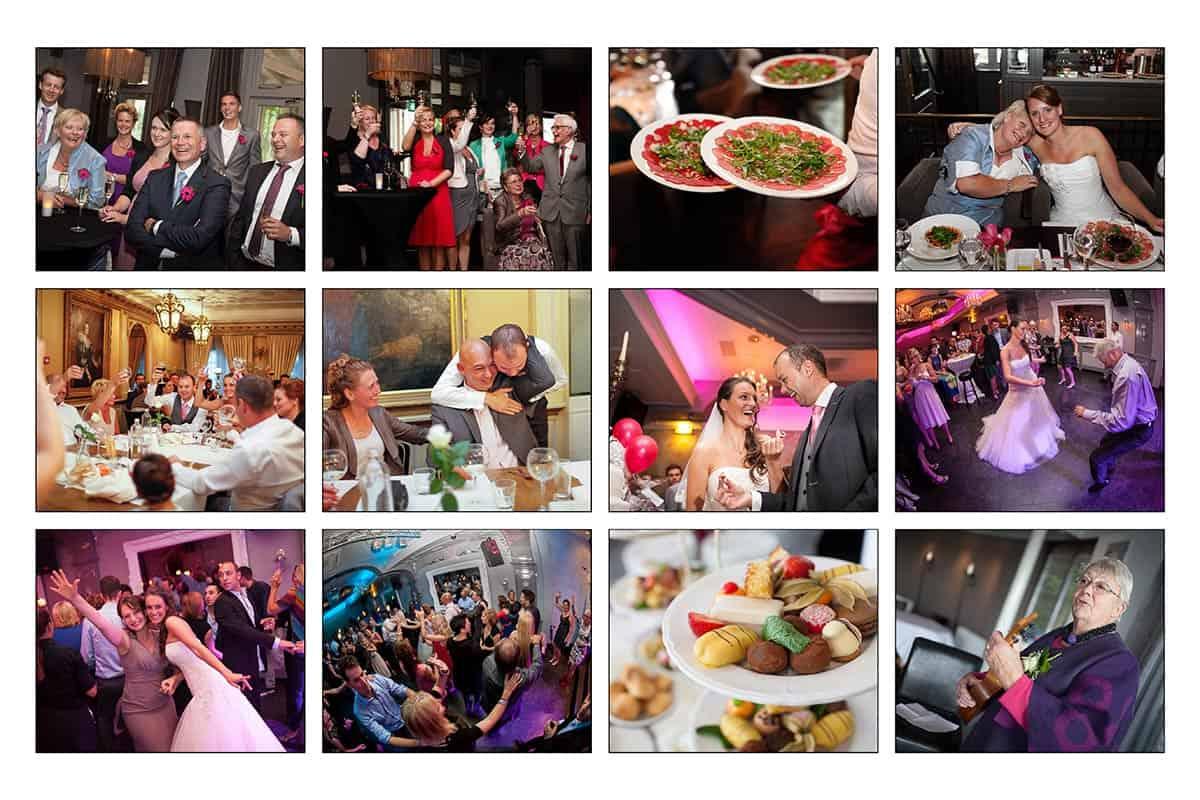 trouwfoto's bruidsfotografie feestavond bruiloftsfeest diner trouwen party