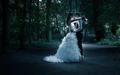 Spelen met licht bruidsfoto
