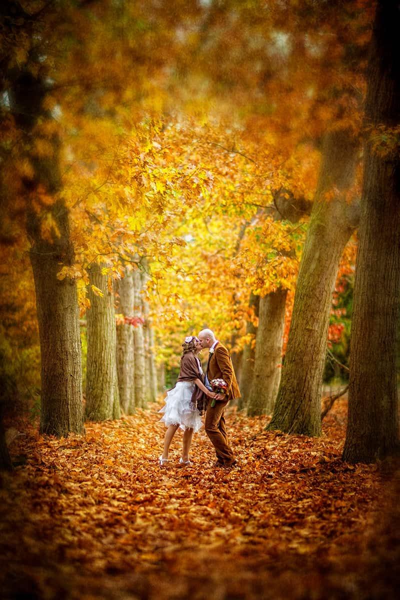 bruidsfoto herfst