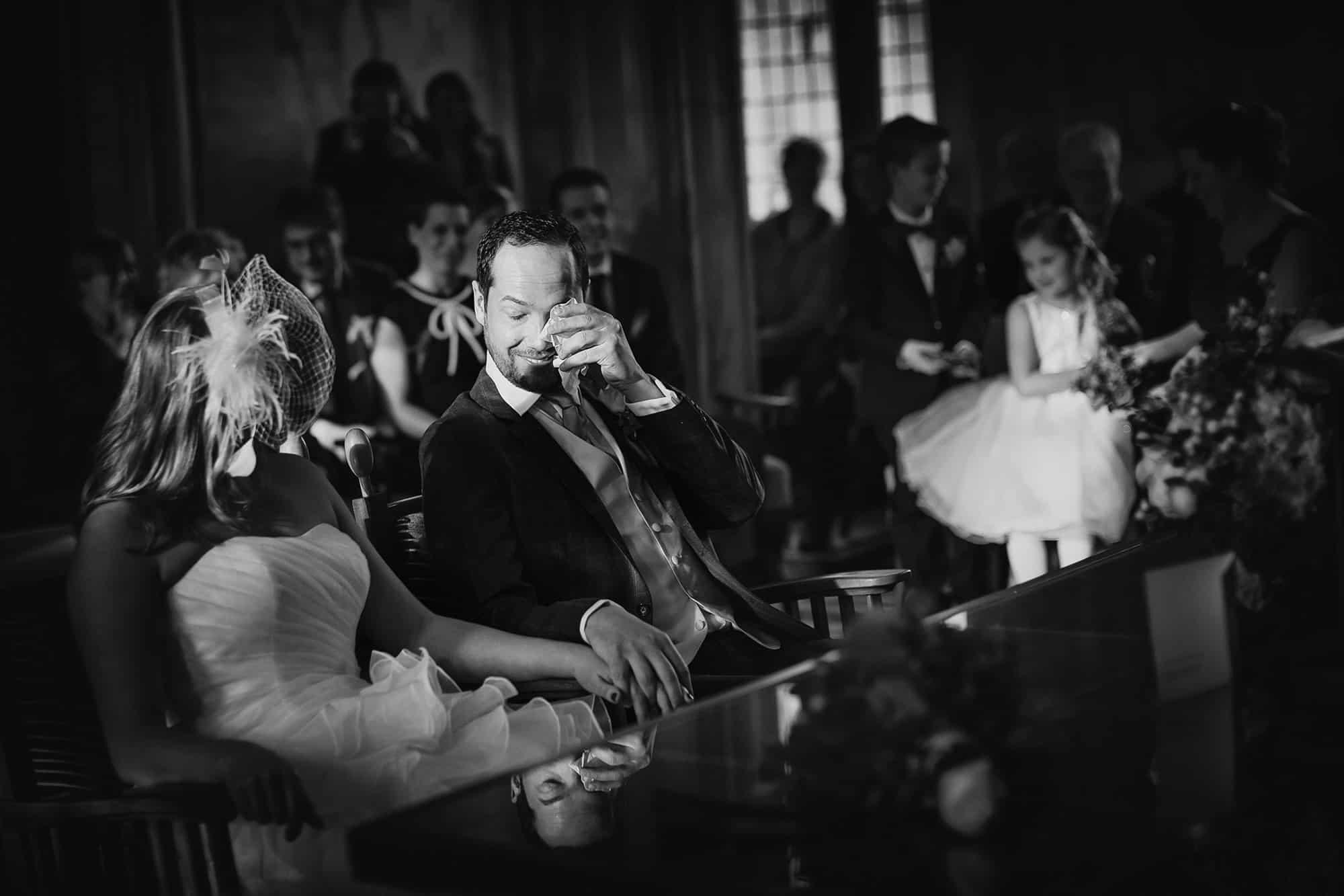 zwart-witbruidsfotografie huwelijksceremonie